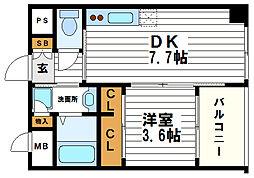 大阪府大阪市中央区内久宝寺町2丁目の賃貸マンションの間取り