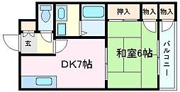 兵庫県明石市魚住町清水の賃貸アパートの間取り