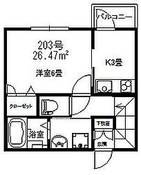 ハピネス大倉山[203号号室]の間取り