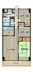 東京都府中市府中町3丁目の賃貸マンションの間取り