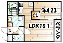 福岡県北九州市小倉北区香春口1の賃貸アパートの間取り