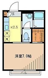 埼玉県草加市花栗4-の賃貸アパートの間取り