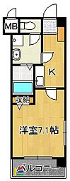 JR鹿児島本線 福工大前駅 徒歩2分の賃貸マンション 2階1Kの間取り