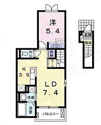 北大阪急行電鉄 桃山台駅 徒歩19分の賃貸アパート 2階1LDKの間取り