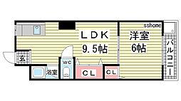 六甲マンション[406号室]の間取り