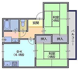 ツインハイムA 1階2DKの間取り