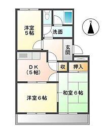 愛知県あま市本郷郷前の賃貸マンションの間取り