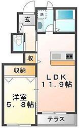 味間南2新築アパート[1階]の間取り