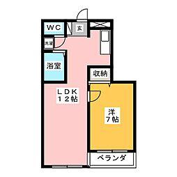 春日コートハウス 2階1LDKの間取り