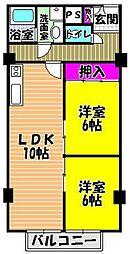 リベルテ田中[5階]の間取り
