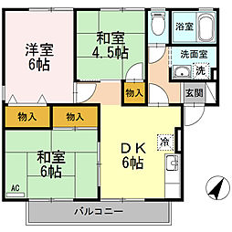 ハイカムール木原A棟[1階]の間取り