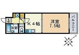 福岡県福岡市博多区店屋町の賃貸マンションの間取り