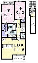 福岡県福岡市城南区干隈1丁目の賃貸アパートの間取り