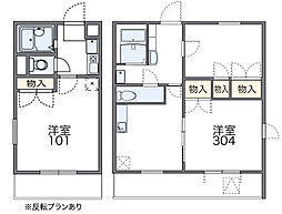 近鉄長野線 河内長野駅 徒歩24分の賃貸マンション 1階1Kの間取り