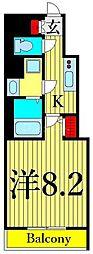 東京メトロ日比谷線 三ノ輪駅 徒歩5分の賃貸マンション 13階1Kの間取り