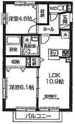 埼玉県入間郡毛呂山町岩井西2丁目の賃貸アパートの間取り