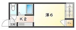 門真プリンスマンション 1階1Kの間取り