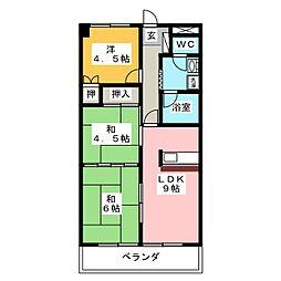 ユーハイツ[4階]の間取り