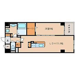 近鉄奈良線 生駒駅 徒歩10分の賃貸マンション 4階1LDKの間取り