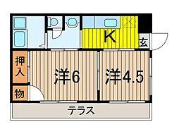 岡田コーポ[1階]の間取り