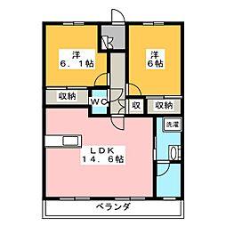 サニーフラット[3階]の間取り