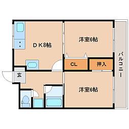 エクシード中島 2階2DKの間取り