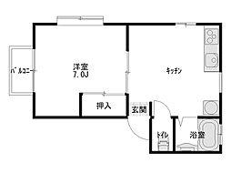 ダイセンアパートE[202号室]の間取り