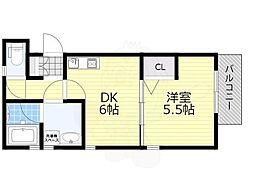 阪急宝塚本線 服部天神駅 徒歩15分の賃貸アパート 1階1DKの間取り
