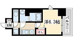 プレサンス新大阪ザシティ 5階1Kの間取り