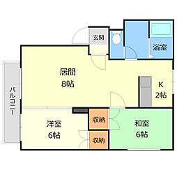北13条プレインB[1階]の間取り
