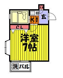 埼玉県草加市住吉2丁目の賃貸アパートの間取り