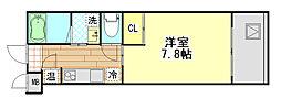 エネピア国泰寺 3階1Kの間取り