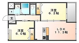 岡山県倉敷市東塚2丁目の賃貸マンションの間取り
