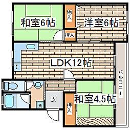 兵庫県神戸市須磨区高倉台6丁目の賃貸マンションの間取り