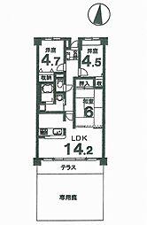 グランコート亀岡[1階]の間取り