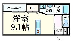 HCフラッツ六甲高羽II 1階ワンルームの間取り