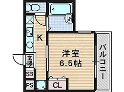 グランメール東淀川 3階1Kの間取り