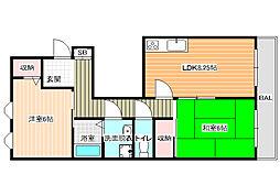 ヨシカワ八尾3[2階]の間取り
