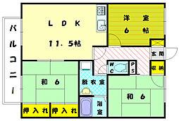 セジュールメロディー1[1階]の間取り