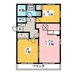 ウッドハウス村上 C棟[1階]の間取り