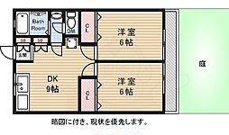 京王線 仙川駅 徒歩15分の賃貸アパート 1階2DKの間取り