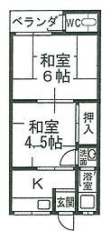 小川ハイツ[1階]の間取り