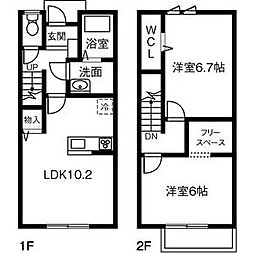 愛知県西尾市桜町3丁目の賃貸アパートの間取り
