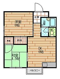 第1ハイツ東邦[3階]の間取り