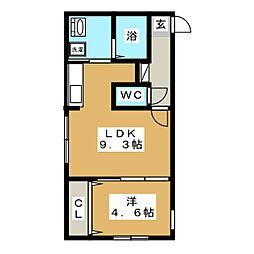セカンドアベニューB[4階]の間取り