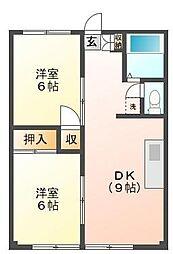 第2木村コーポ[1階]の間取り