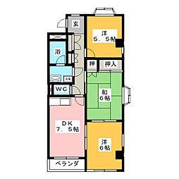 グランドヒルズ一番館B[2階]の間取り