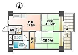愛知県稲沢市国府宮3丁目の賃貸マンションの間取り