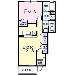 神奈川県伊勢原市沼目1丁目の賃貸アパートの間取り