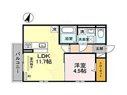 南海高野線 北野田駅 徒歩18分の賃貸アパート 2階1LDKの間取り